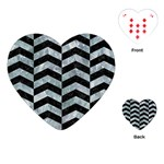 CHEVRON2 BLACK MARBLE & ICE CRYSTALS Playing Cards (Heart)