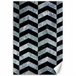 CHEVRON2 BLACK MARBLE & ICE CRYSTALS Canvas 24  x 36