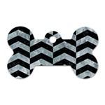 CHEVRON2 BLACK MARBLE & ICE CRYSTALS Dog Tag Bone (One Side)