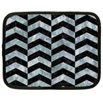 CHEVRON2 BLACK MARBLE & ICE CRYSTALS Netbook Case (Large)