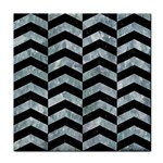 CHEVRON2 BLACK MARBLE & ICE CRYSTALS Face Towel