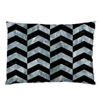 CHEVRON2 BLACK MARBLE & ICE CRYSTALS Pillow Case
