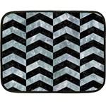 CHEVRON2 BLACK MARBLE & ICE CRYSTALS Fleece Blanket (Mini)