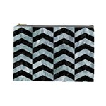 CHEVRON2 BLACK MARBLE & ICE CRYSTALS Cosmetic Bag (Large)