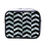 CHEVRON2 BLACK MARBLE & ICE CRYSTALS Mini Toiletries Bags