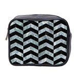 CHEVRON2 BLACK MARBLE & ICE CRYSTALS Mini Toiletries Bag 2-Side