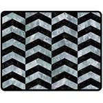 CHEVRON2 BLACK MARBLE & ICE CRYSTALS Fleece Blanket (Medium)