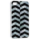 CHEVRON2 BLACK MARBLE & ICE CRYSTALS Apple iPhone 4/4s Seamless Case (White)