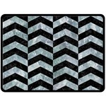 CHEVRON2 BLACK MARBLE & ICE CRYSTALS Double Sided Fleece Blanket (Large)