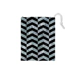 CHEVRON2 BLACK MARBLE & ICE CRYSTALS Drawstring Pouches (Small)