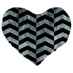 CHEVRON2 BLACK MARBLE & ICE CRYSTALS Large 19  Premium Flano Heart Shape Cushions
