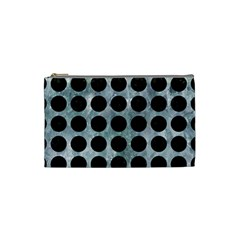 CIRCLES1 BLACK MARBLE & ICE CRYSTALS Cosmetic Bag (Small)  from DesignYourOwnGift.com Front