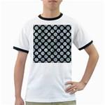 CIRCLES2 BLACK MARBLE & ICE CRYSTALS (R) Ringer T-Shirts