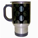 CIRCLES2 BLACK MARBLE & ICE CRYSTALS (R) Travel Mug (Silver Gray)