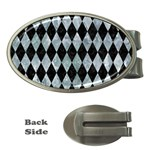 DIAMOND1 BLACK MARBLE & ICE CRYSTALS Money Clips (Oval)