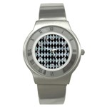 DIAMOND1 BLACK MARBLE & ICE CRYSTALS Stainless Steel Watch