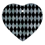 DIAMOND1 BLACK MARBLE & ICE CRYSTALS Heart Ornament (Two Sides)