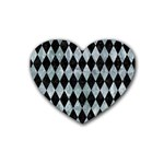 DIAMOND1 BLACK MARBLE & ICE CRYSTALS Heart Coaster (4 pack)