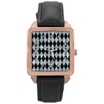 DIAMOND1 BLACK MARBLE & ICE CRYSTALS Rose Gold Leather Watch