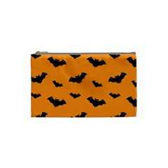 Halloween Bat Animals Night Orange Cosmetic Bag (Small)  from DesignYourOwnGift.com Front