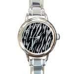 SKIN3 BLACK MARBLE & ICE CRYSTALS (R) Round Italian Charm Watch