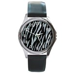 SKIN3 BLACK MARBLE & ICE CRYSTALS (R) Round Metal Watch