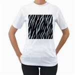 SKIN3 BLACK MARBLE & ICE CRYSTALS (R) Women s T-Shirt (White) (Two Sided)