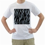 SKIN3 BLACK MARBLE & ICE CRYSTALS (R) Men s T-Shirt (White) (Two Sided)