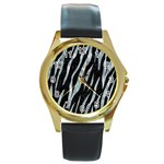 SKIN3 BLACK MARBLE & ICE CRYSTALS (R) Round Gold Metal Watch