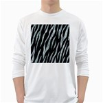 SKIN3 BLACK MARBLE & ICE CRYSTALS (R) White Long Sleeve T-Shirts