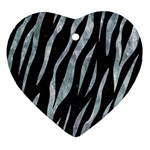 SKIN3 BLACK MARBLE & ICE CRYSTALS (R) Heart Ornament (Two Sides)