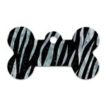 SKIN3 BLACK MARBLE & ICE CRYSTALS (R) Dog Tag Bone (Two Sides)