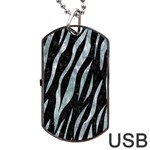 SKIN3 BLACK MARBLE & ICE CRYSTALS (R) Dog Tag USB Flash (Two Sides)