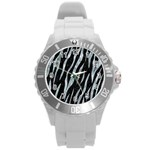 SKIN3 BLACK MARBLE & ICE CRYSTALS (R) Round Plastic Sport Watch (L)