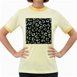 SKIN5 BLACK MARBLE & ICE CRYSTALS Women s Fitted Ringer T-Shirts