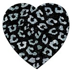 SKIN5 BLACK MARBLE & ICE CRYSTALS Jigsaw Puzzle (Heart)