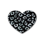 SKIN5 BLACK MARBLE & ICE CRYSTALS Rubber Coaster (Heart)