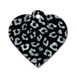 SKIN5 BLACK MARBLE & ICE CRYSTALS Dog Tag Heart (One Side)