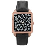 SKIN5 BLACK MARBLE & ICE CRYSTALS Rose Gold Leather Watch