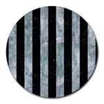 STRIPES1 BLACK MARBLE & ICE CRYSTALS Round Mousepads