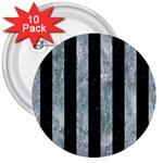 STRIPES1 BLACK MARBLE & ICE CRYSTALS 3  Buttons (10 pack)