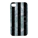 STRIPES1 BLACK MARBLE & ICE CRYSTALS Apple iPhone 4/4S Hardshell Case with Stand