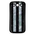 STRIPES1 BLACK MARBLE & ICE CRYSTALS Samsung Galaxy S3 Back Case (Black)
