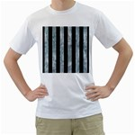 STRIPES1 BLACK MARBLE & ICE CRYSTALS Men s T-Shirt (White)