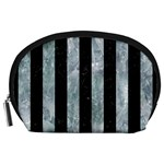 STRIPES1 BLACK MARBLE & ICE CRYSTALS Accessory Pouches (Large)