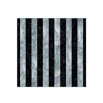 STRIPES1 BLACK MARBLE & ICE CRYSTALS Satin Bandana Scarf