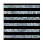 STRIPES2 BLACK MARBLE & ICE CRYSTALS Tile Coasters