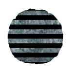 STRIPES2 BLACK MARBLE & ICE CRYSTALS Standard 15  Premium Flano Round Cushions