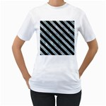 STRIPES3 BLACK MARBLE & ICE CRYSTALS Women s T-Shirt (White) (Two Sided)
