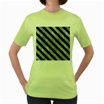 STRIPES3 BLACK MARBLE & ICE CRYSTALS Women s Green T-Shirt